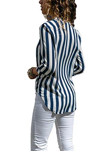 Crois XXL A Muticouleur Devant Rayue Col Chemisier Automne V Blouse Femme Dokotoo S Longue Manche bleu cHwR6Of18q