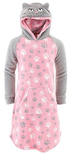 SWEET N SASSY Big Girls' Cat Hooded Fleece Nightgown M/10-12