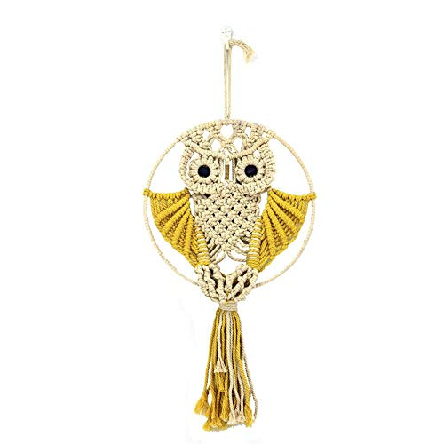 Weemoment Owls Macrame Woven Wall Hanging Art Decor - Cute Boho Chic Decorations for Baby Nursery Little Kids Room Craft Decorations ()