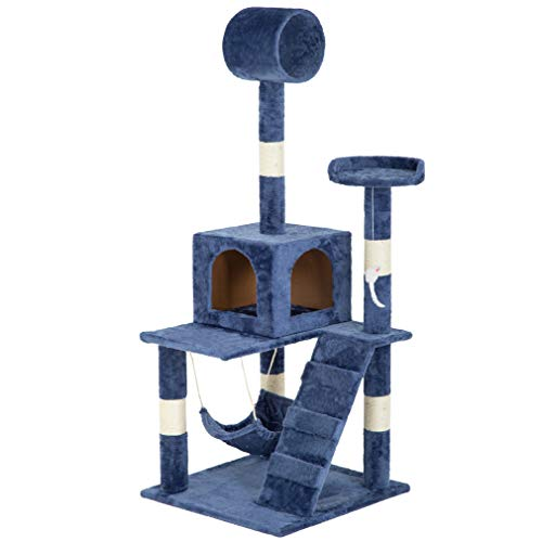 BestPet Cat Tree Cat Tower Condo Kitten Multi-Level Plush Cat Playground with Hammock,55″
