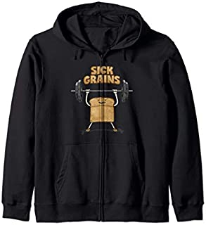 Workout Toast Sick Grains  Gym Weight Lifting Fitness Zip Hoodie T-shirt | Size S - 5XL