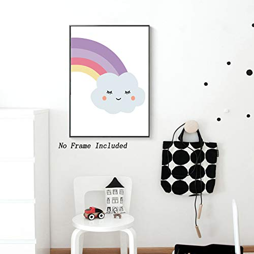 Unframed Cute Unicorn Canvas Art Prints Cartoon Poster, Watercolor Rainbow Shy Cloud Wall Art Painting,Set of 2(8/'/'x10/'/') Excellent Gift for Kids Girls Bedroom Decor