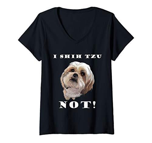 (Womens I SHIH TZU NOT Dog Puppy Best Friend  V-Neck T-Shirt)