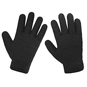 LETHMIK Womens&Girls Winter Knit Gloves Warm Solid Color Glove with Thick Fleece Lined Plain Black