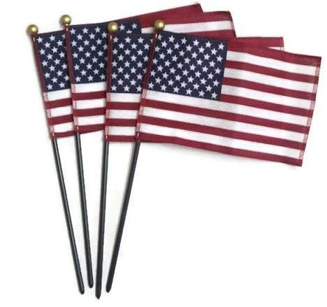 Mini American U.S. Flags on Plastic Sticks, 4 In. X 6 In. -