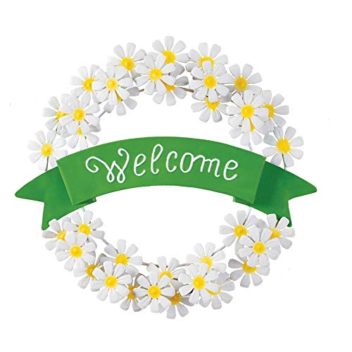 Collections Etc White Daisy Welcome Metal Wreath Spring Door Decoration for Foyer or Any Room in Home -