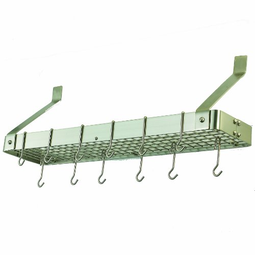(Old Dutch Wall-Mount Bookshelf Pot Rack with Grid & 12 Hooks,Satin Nickel, 36.25