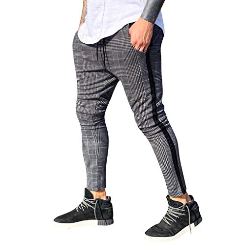 NREALY Pants Mens Long Casual Sport Pants Slim Fit Plaid Trousers Running Joggers Sweatpants(L, Gray)
