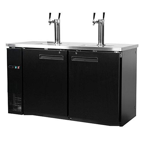 $25 Rebate 60″ Dual Tap Keg Beer Can Bottle Dispenser Refrigerator Stainless Steel Top UDD-24-60, Kegerator Fridge