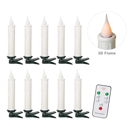 (Christmas Tree Taper Candles with 3D Flame with Remote Control-Battery Included-Pack of 10-White)