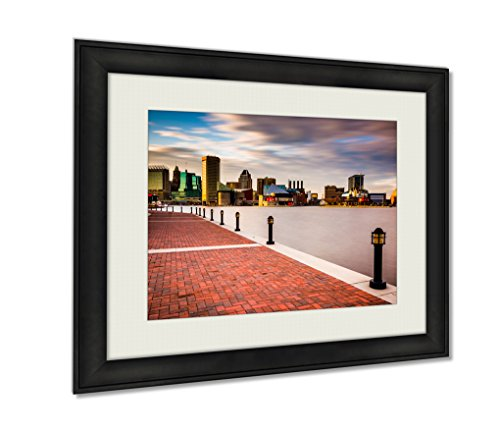 Ashley Framed Prints, Long Exposure Of The Skyline And Waterfront Promenade In Baltimore Maryland Wall Art Decor Giclee Photo Print In Black Wood Frame, Soft White Matte, Ready to hang, 16x20 Art (Exposure 16x20 Photo Multi)