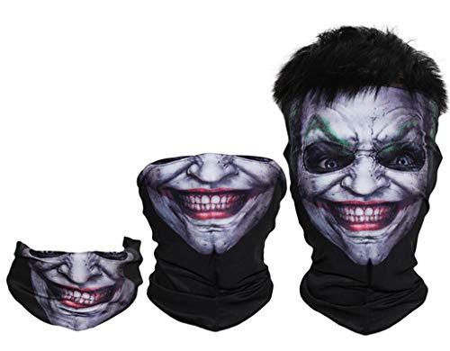 Digital Printing Clown Joker Mask Hood Half-Head Multi-Purpose Variable Mask Collar,Outdoor Magic Headband Elastic Seamless Bandana Scarf UV Resistence Sport -