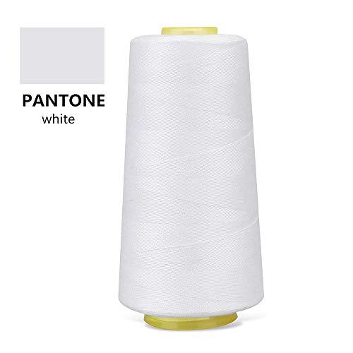 100% Spun Polyester White Sewing Thread 1 Piece of 3000 Yard Overlock Connecting Serger Thread for DIY,Handwork,Serger,Overlock,Single Needle,Sewing Machine