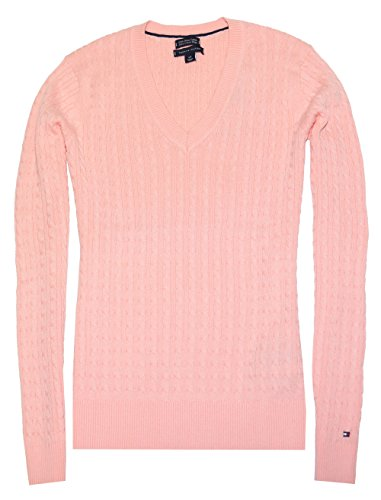 Tommy Hilfiger Women Pima Cotton V-neck Cable Logo Sweater (M, Baby pink)