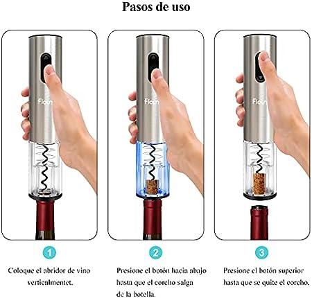 Flauno Sacacorchos Eléctrico Recargable - Abridor Vino Eléctrico | Abrebotellas Automatico con Base de Recarga | Corta Cápsulas | Vertedor de Vino y Tapón de Vino | Regalo para Amantes del Vino
