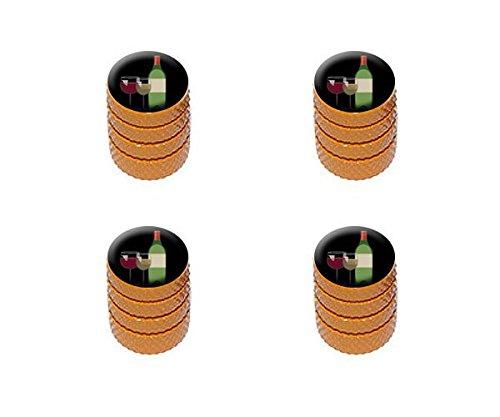 - Graphics and More Wine Vino White Red - Zinfandel Merlot Cabernet Sauvignon Pinot Chardonnay Tire Rim Wheel Aluminum Valve Stem Caps - Orange Color
