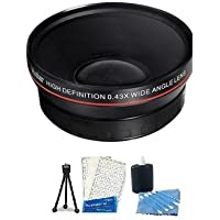 72mm 0.43X Wide Angle Lens With Macro + Mini Tripod + LCD Screen Protectors + Camera Cleaning Kit for Panasonic AG-DVX100B DVC80 DVX100