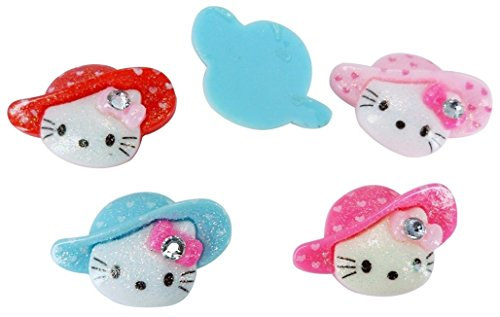 Resin Shimmer Hello Kitty Gem Hat Flatback Scrapbooking Embellishments Cabochon Appliques 10 Pieces Hello Kitty Gems