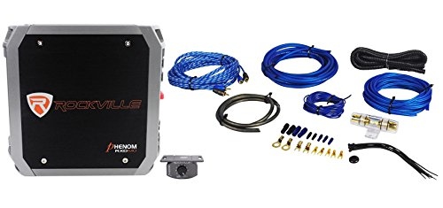 Rockville RXD-M0 1200 Watt/600w RMS Mono Class D 1 Ohm Car Amplifier + Amp Kit