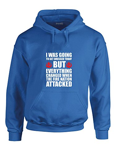 The Fire Nation Attacked, Printed Hoodie - Royal Blue/White/Red M