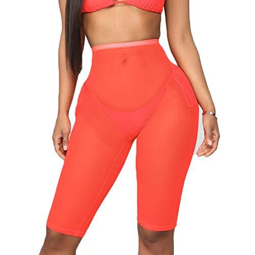 2d21568e52a6ca FULA-bao Women Sexy Perspective Mesh Sheer Swim Shorts Pants Bikini Bottom  Cover up (