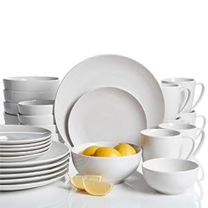 ... Dinnerware Sets  sc 1 st  Amazon.com & Amazon.com: Gibson Home 30 Piece Ogalla Dinnerware Set White ...