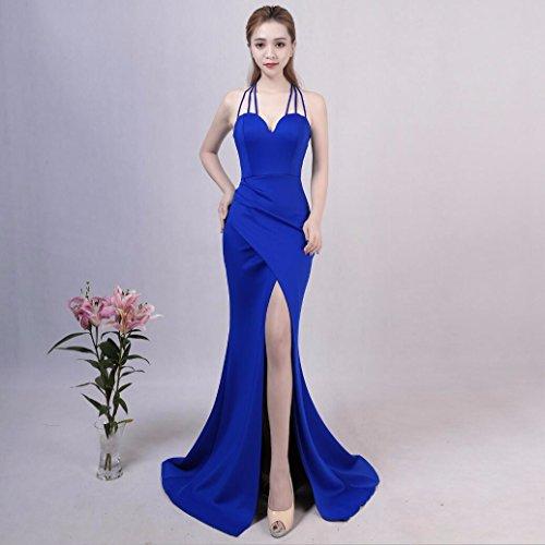 WBXAZL Vestido de Noche, de Moda, Elegante, Largo, Sexy, Honda, Cuerpo, Cola de Pescado, Vestido Negro, Falda. Sapphire