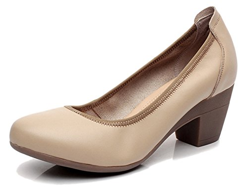 Fangsto Women's Genuine Leather Chunky Heel Pumps Slip ONS US Size 7.5 Apricot Chunky Leather Pumps