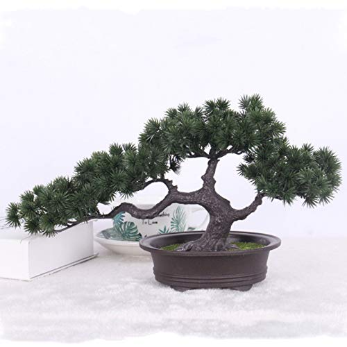 (SHIJING Simulation Bonsai Ornaments Fake Tree Potted Large Welcoming Pine Plastic Fake Potted Plant Simulation Pine Indoor Decoration)