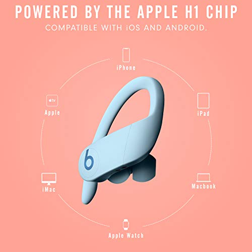 Powerbeats Pro Totally Wireless Earphones – Apple H1 Headphone Chip, Class 1 Bluetooth, 9 Hours of Listening Time, Sweat-Resistant Earbuds – Glacier Blue