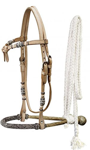 Rawhide Futurity - Showman Horse Rawhide Bosal Futurity Bridle Headstall with a Cotton Mecate Rein (Light Oil)