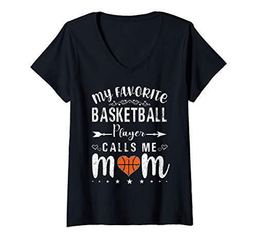 Womens My Favorite Basketball Player Calls Me Mom Tshirt Gift V-Neck T-Shirt