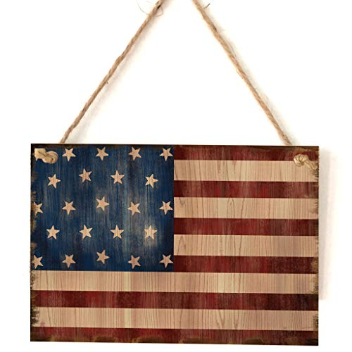 Komon Vintage Wooden Hanging Plaque American Flag Sign Board Wall Door Home Decor Independence Day Party Gift