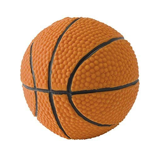 Basketball Rubber Dog Toy. 100% Natural Rubber (Latex). 3.93 inches. Complies to Same Safety Standards as Children's Toys. Soft & Squeaky. Best Dog Toy for Medium-to-Large Dogs.
