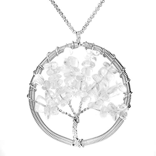 BEADNOVA Tree of Life Tumbled Clear White Quartz Chip Beads Gemstone Pendant Necklace Chakra Jewelry Gift For Her (Natural Clear White Quartz Crystal)