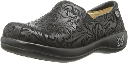 Alegria Keli Womens Professional Shoe Black Embossed Paisley 10 W US