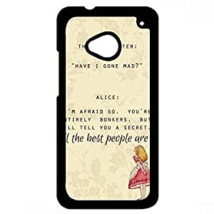 Mad Hatter and Alice Quote Alice In Wonderland Phone Case Black Hard Plastic Case Cover For Htc One M7