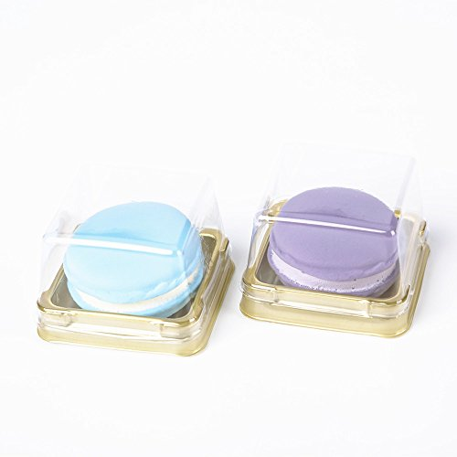 Single Clear Plastic Moon Cake Box For 50G Cake, Black/Golden Color, 2.2 Inch Bottom, 50 Sets (Golden)