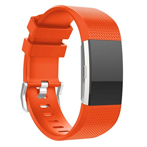 For Fitbit Charge 2 Bnads, FreshZone New Fashion Sports Silicone Bracelet Strap Band For Fitbit Charge 2, Small (Small 5.9-9.15, Orange)