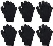 Penta Angel Kids Warm Gloves 6 Pairs Full Finger Stretch Winter Knit Gloves Magic Gloves for Boys and Girls