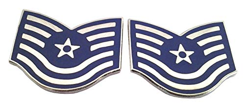 1 Pair (2) US AIR Force Rank E6 TECH SGT. Military Veteran Rank Pins 15079 HO