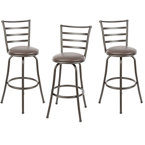 Stool Finish Bar Wood Bronze (Mainstay Adjustable-Height Swivel Barstool, Hammered Bronze Finish, Set of 3,Brown)