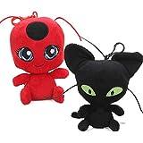 YODE Miraculous Ladybug Cat Plagg & Tikki Noir Plush Toys Lady Bug Adrien Marinette Stuffed Animal Doll - 2Pcs/Set