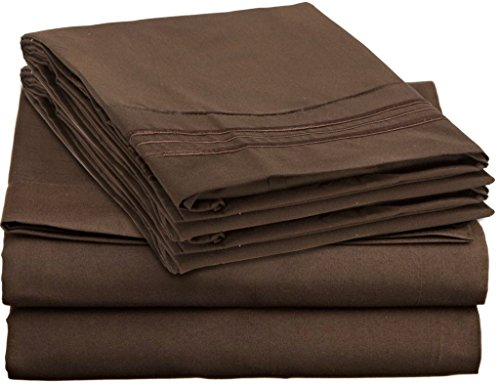Signature 1800 Collection Ultra-soft Feel Cotton Touch Deluxe 4 Piece Sheet Set with BONUS 2 Pillowcases, King Size, Dark Brown
