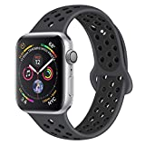 YOUKEX Compatible Sport Band for Apple Watch 42mm 38mm S/M M/L, Soft Silicone Strap Replacement Wristbands for iWatch Series 3/2/1 Nike+ Sports and Edition (42ML Anthracite/Black)