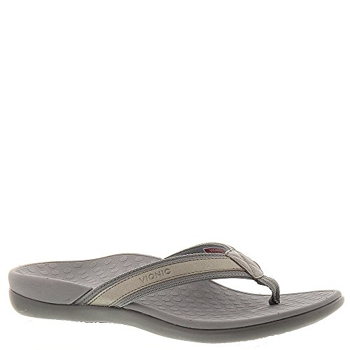 Vionic Women's Tide II Pewter Metallic Sandal Close Back Thong Sandal