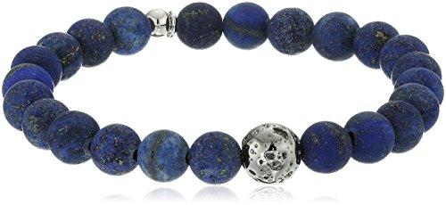 Tateossian Asteroid Ruthenium Plated Silver Matt Lapis Beads Blue Purple Bracelet, Medium