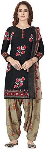 Jevi Prints Women's Unstitched Faux Crepe Wrinkle Free Dress Material (Varsha-3276_Black & Brown_Free Size)