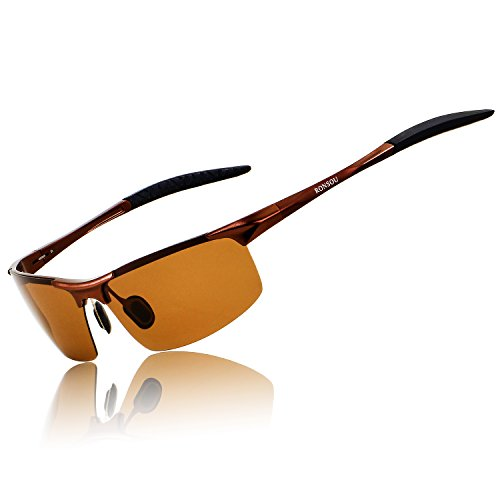 Ronsou Men Sport Al-Mg Polarized Sunglasses Unbreakable For Driving Cycling Fishing Golf coffee frame/coffee lens