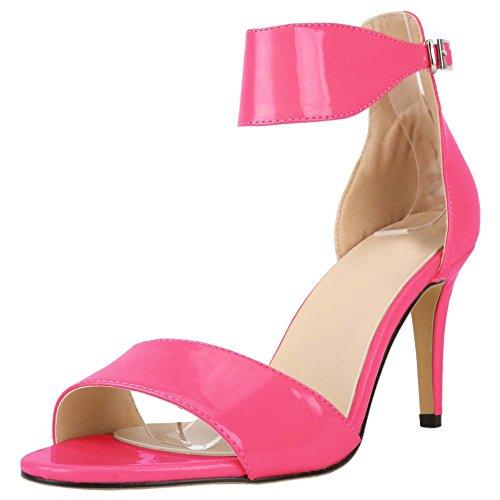 HooH Women's Peep Toe Simple Buckle Stiletto Dress Sandals Rose Red PUVfQIeSJE